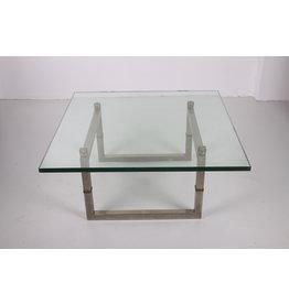 Peter Ghyczy glazen salontafel met roestvrij stalen frame Biri T29