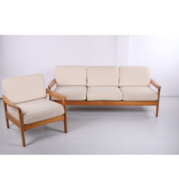 Scandinavische 3-zits bankstel en fauteuil wit Creme 1960