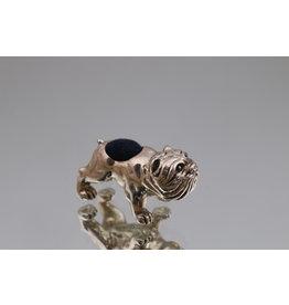 Zilveren speldenkussen buldog middel 925 silber