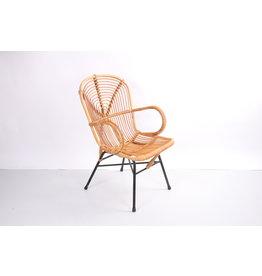 Vintage Noordwolde bamboe lounge stoel