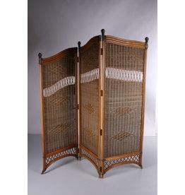 Vintage Rotan Kamerscherm of roomdiver Bamboe met pitriet