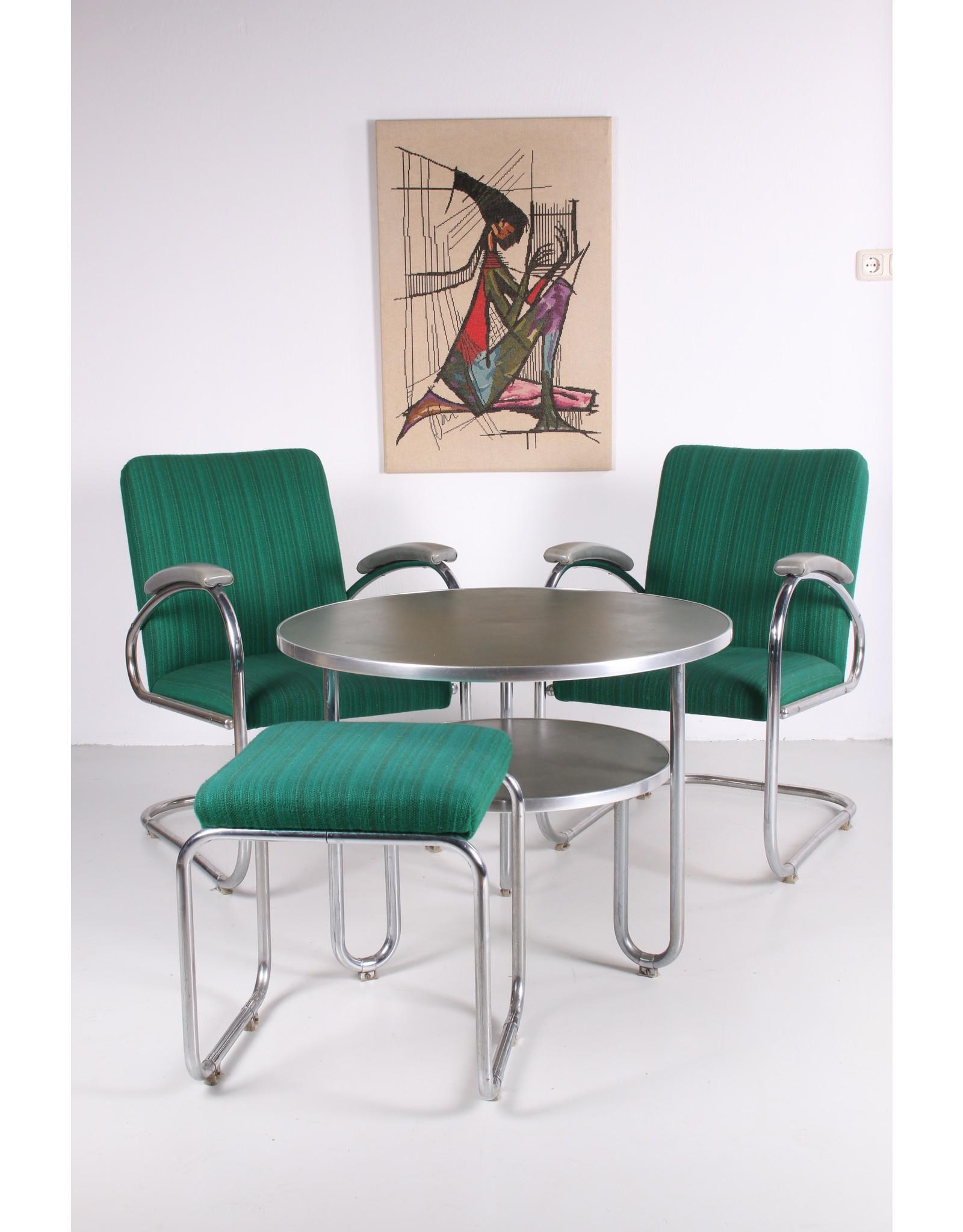Set Bauhaus 2 fauteuils Bridge met tafel en voetenbankje jaren 30s Gemaakt door Mauser,germany
