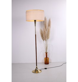 Dijkstra Vintage palissander houten vloerlamp met messing voet en stoffen kap