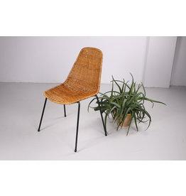 Midcentury rotan Basket stoel van Gian Franco Legler