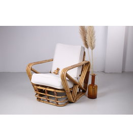 Vintage PAUL FRANKL bamboe fauteuil ART DECO rotan jaren 50