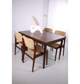 Set een eettafel met 4 teak eetkamerstoelen van Hartmut Lohmeyer voor Wilkhahn, jaren 50