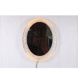 Ovale spiegel met verlichting en plexiglas rand van Hillebrand