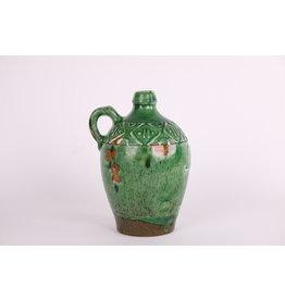 Snaps decoratieve kruik/vaas groen aardewerk