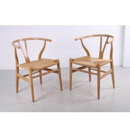 Set van twee eikenhouten CH24 'Y-stoelen' van Hans J. Wegner voor Carl Hansen, 1960