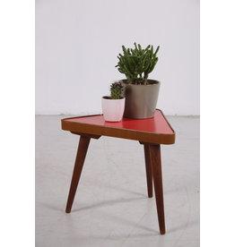 Vintage plantentafeltje rood, mooie driehoek jaren 60