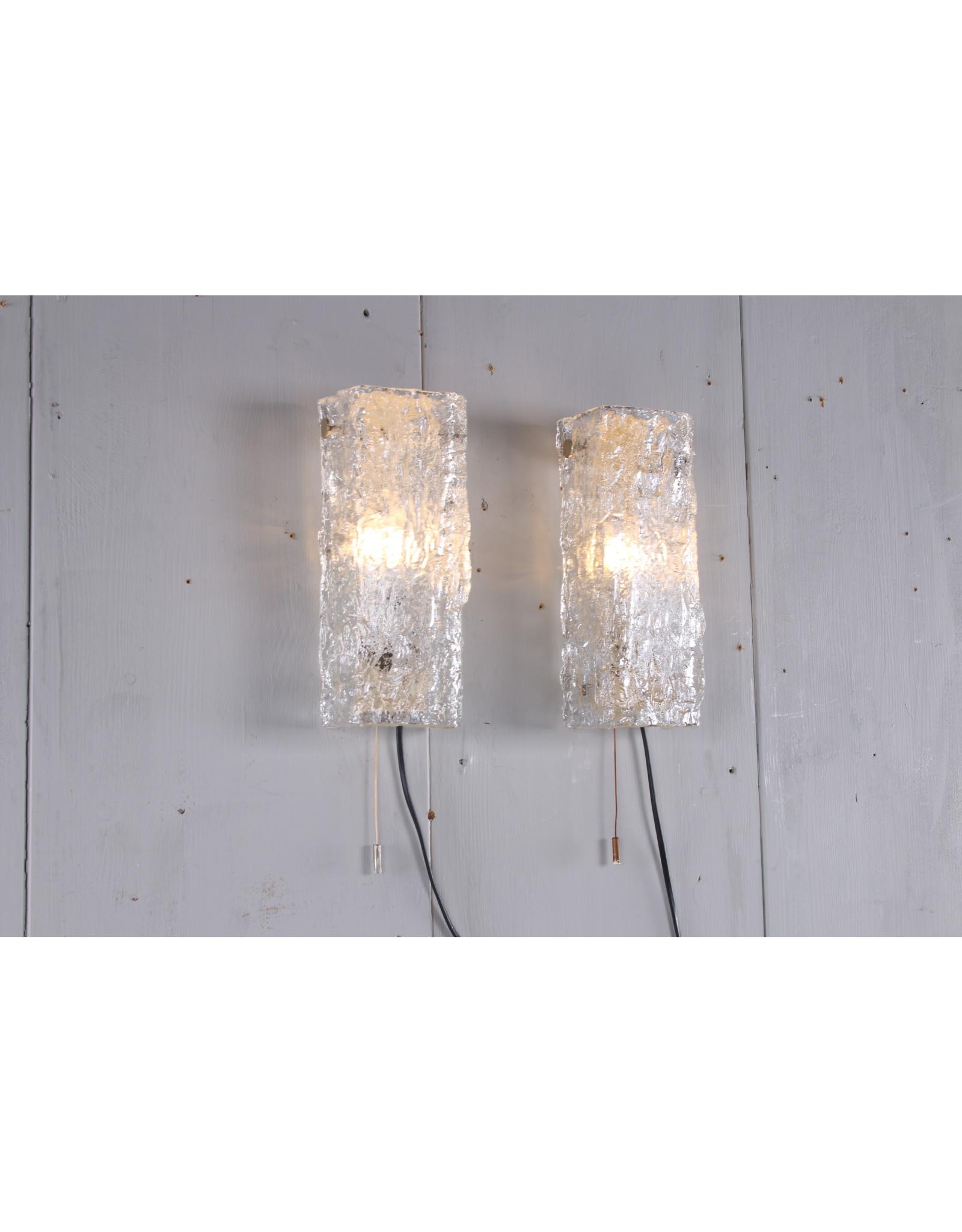 Set Duitse ijsglazen wandlampen uit de jaren 70 van Kaiser Leuchten