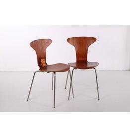 Vintage Arne Jacobsen Mosquito 3105 stoel set van 2 gemaakt door Fritz Hansen 1950s