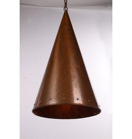 Deense met de hand gehamerde koperen hanglamp van E.S Horn Aalestrup, jaren 50
