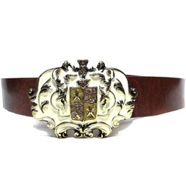 Leather Belt with Buckle Camelot Gold
