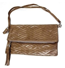 B&B Leren Clutch Relief Taupe