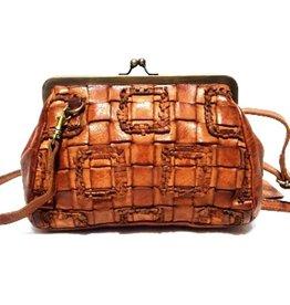 Bear Design Leren Vintage tas met beugel Cognac