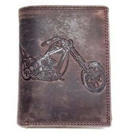 Leather Wallet with Bike print