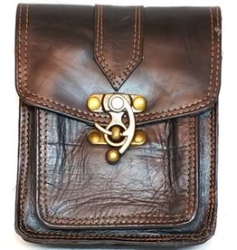 Uitverkocht - Leren steampunk riemtas - schoudertas bruin