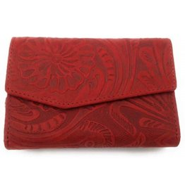 HillBurry Hillburry leren portemonnee 13092f-rood
