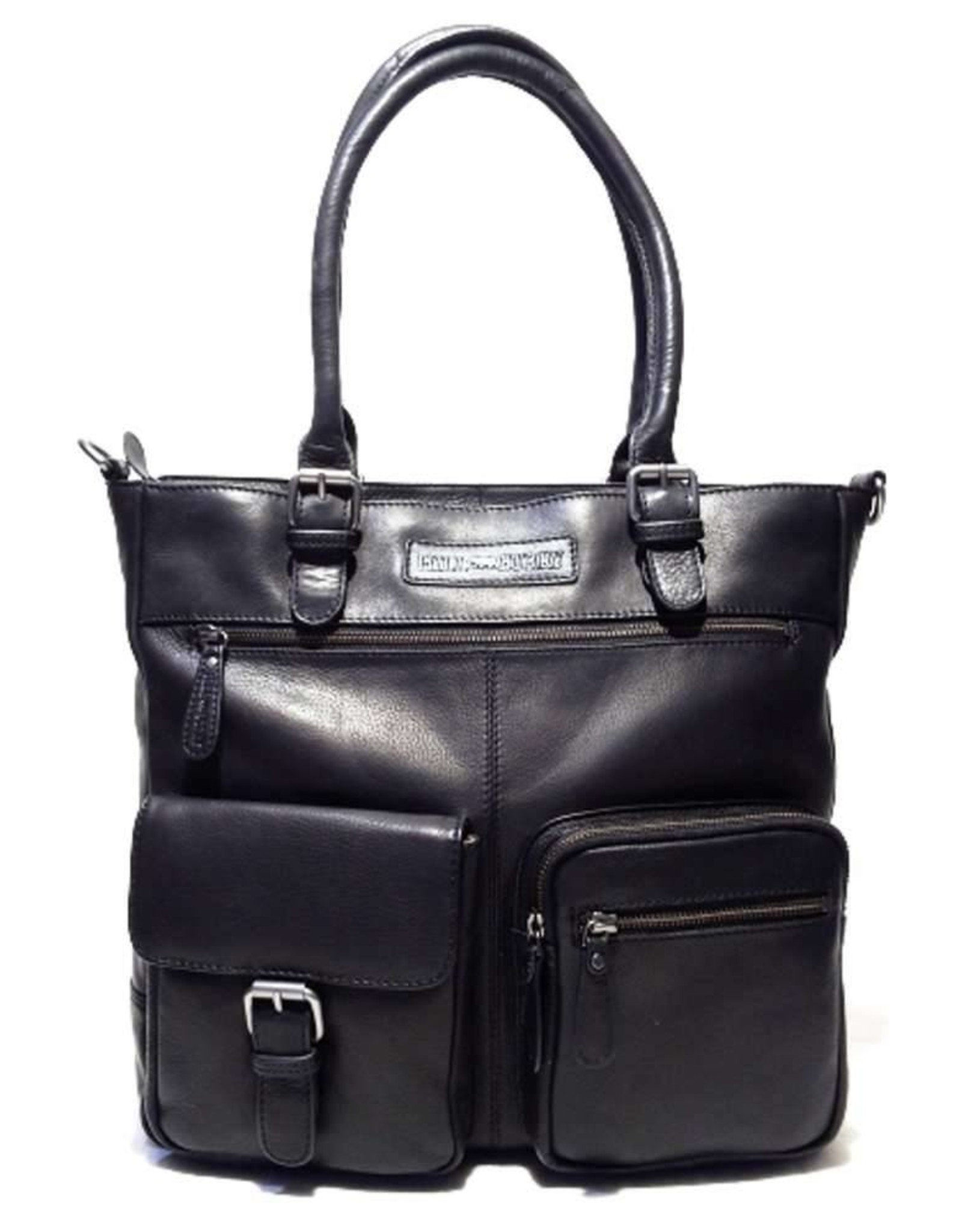 HillBurry Leather laptop bags and Leather work bags - HillBurry Leather Workbag with long handles (black)