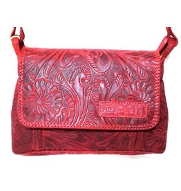 Hillburry leather shoulder bag red 3182f-rd