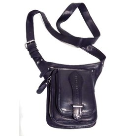 HillBurry HillBurry Leren Crossbody tas Zwart