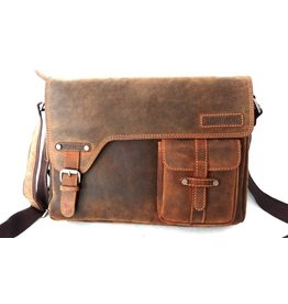 Huttman Hütmann leather laptop bag brown 3059b