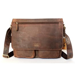 Hunters Hunters leather laptop bag brown 7833