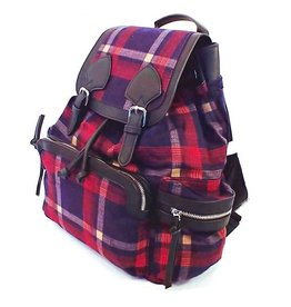 Tartan backpack red blue