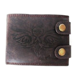 Louis Wallis Leather wallet with owl print dark brown