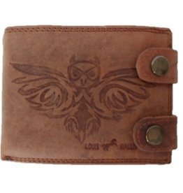 Louis Wallis Leather wallet with owl print brown