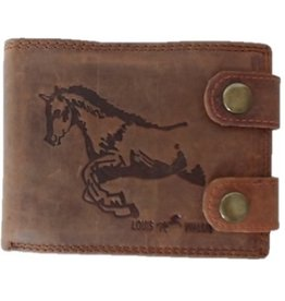 Leather wallet horse print brown