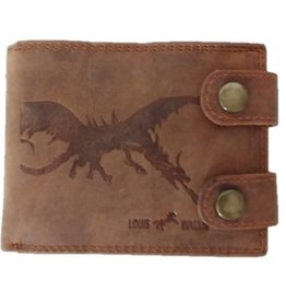 Louis Wallis Leather wallet dragon print brown
