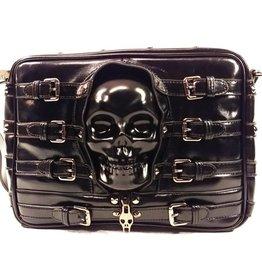 Dark Desire Dark Desire Gothic schoudertas met 3D skull en gespen