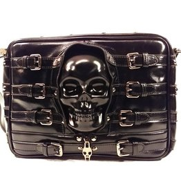 Dark Desire Gothic schoudertas met 3D skull en gespen