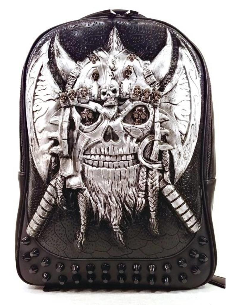 95685600fa7 Gothic tassen Steampunk tassen - gothic 3D rugzak Viking zilver ...