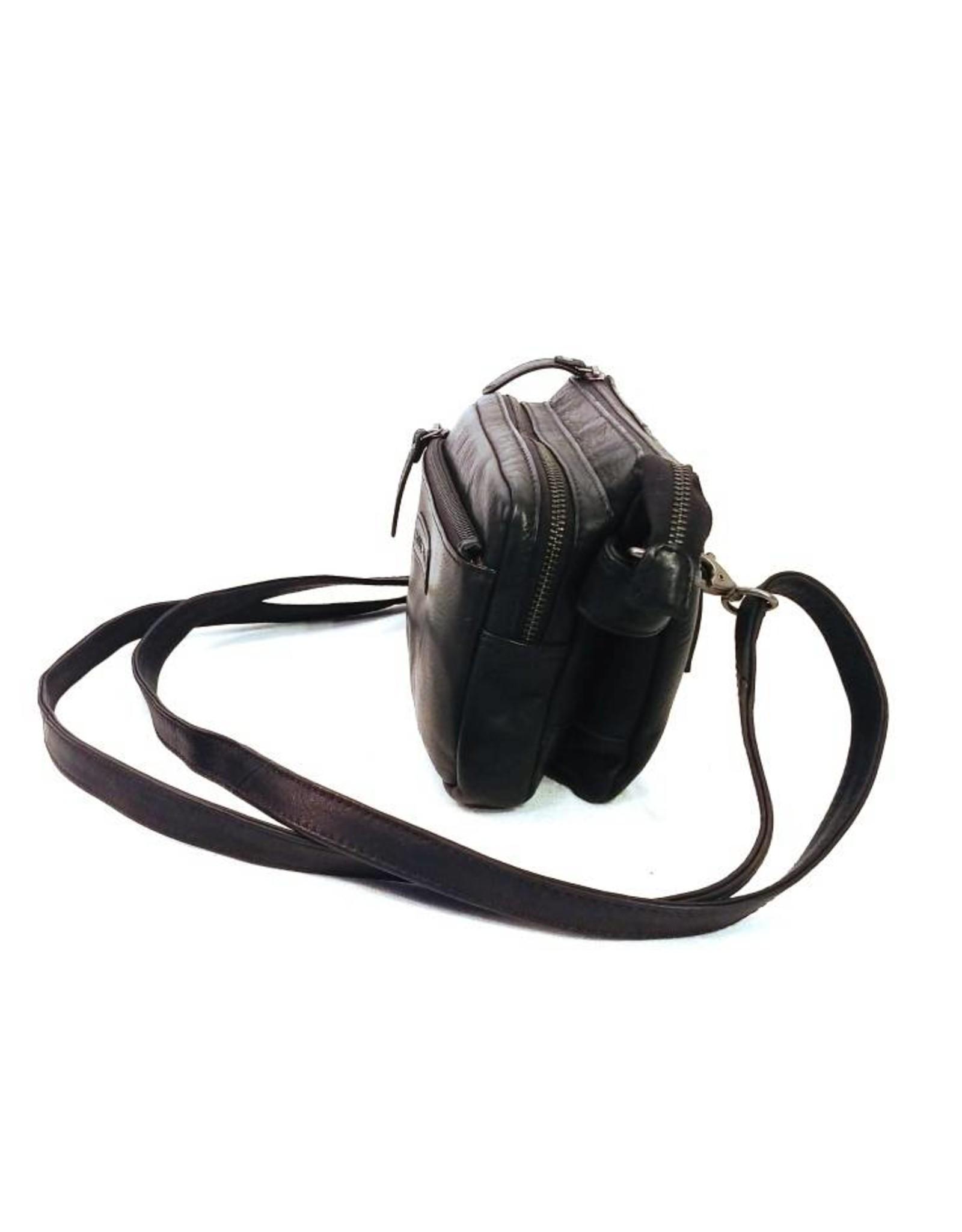 HillBurry Leren tassen - HillBurry Leren Schoudertas zwart HB1613Z