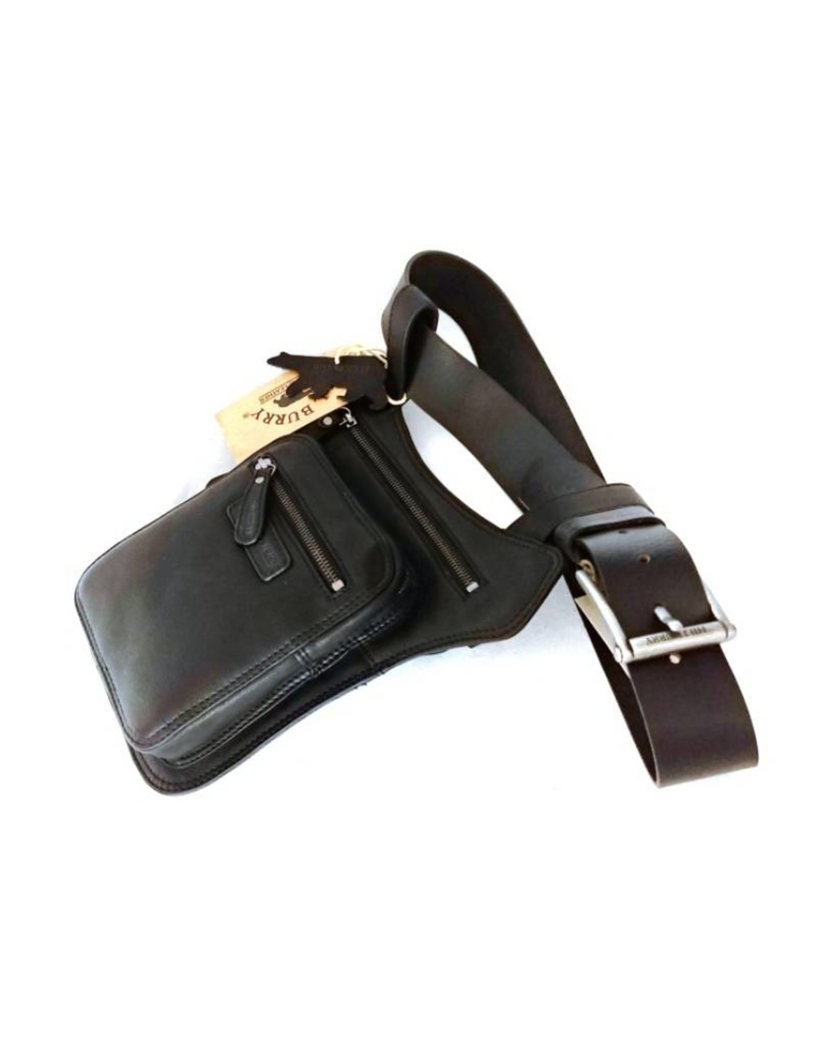 HillBurry Leren tassen - Hillburry leren riemtas zwart 6186