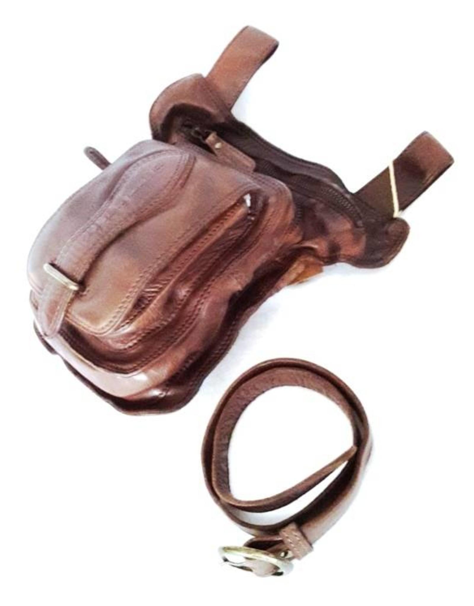 HillBurry Leren tassen - Hillburry riemtas - beentas van gewassen leer bruin