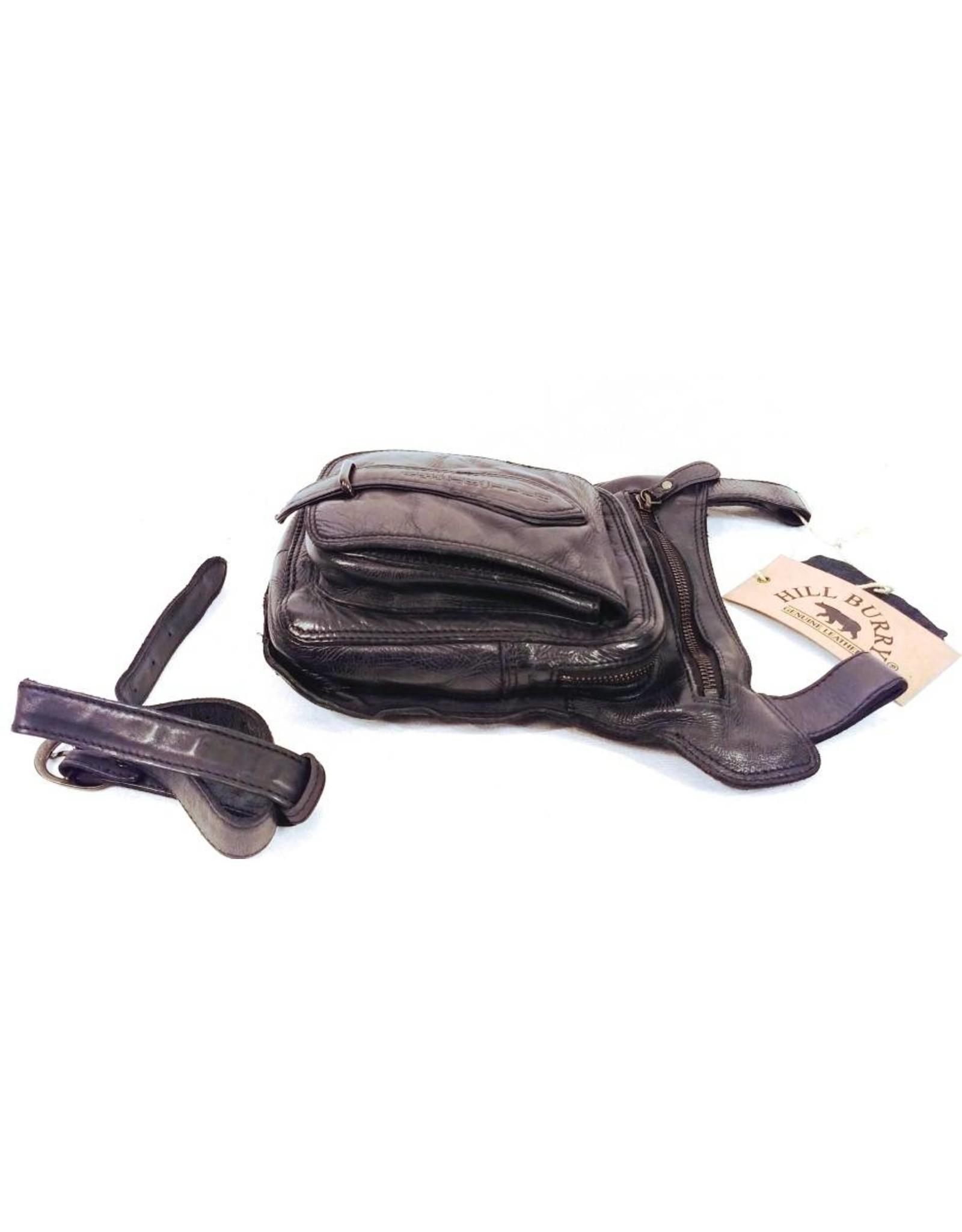 HillBurry Leren tassen - Hillburry riemtas beentas van gewassen leer zwart