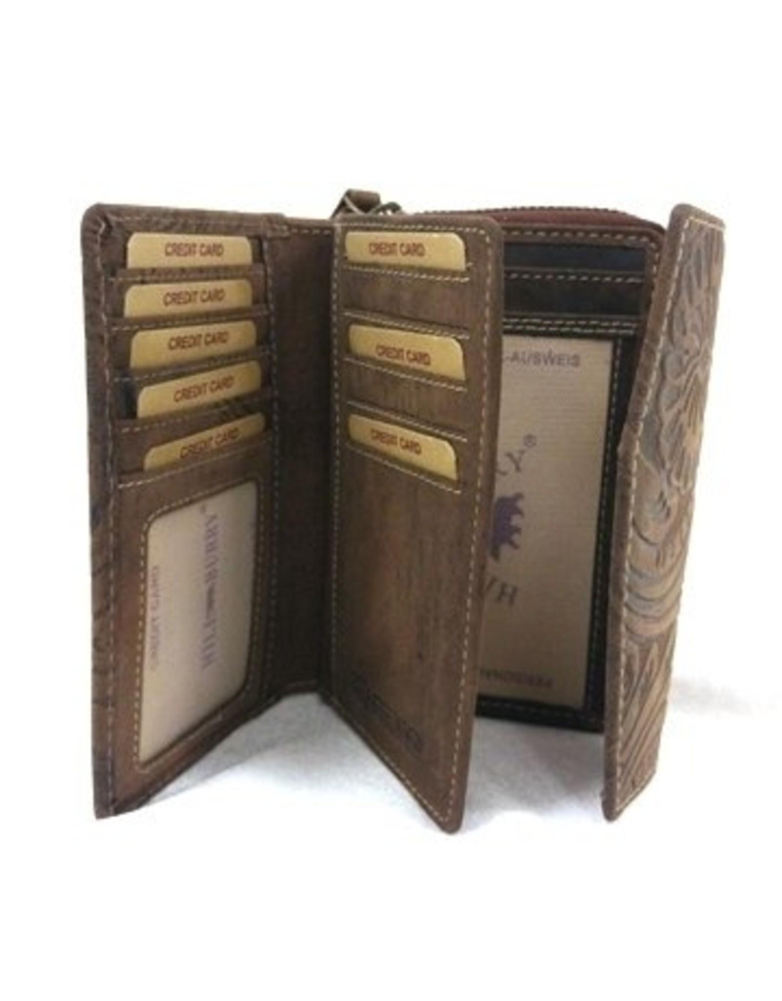 HillBurry Leren portemonnees - Leren Portemonnee HillBurry 1309F-dbr