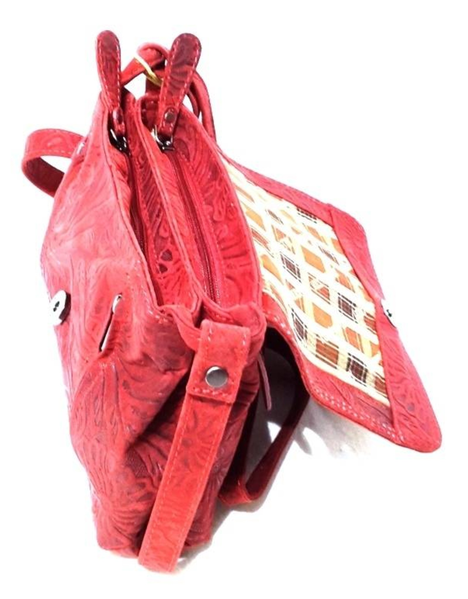 HillBurry Leren tassen - Hillburry leren schoudertas rood 3182f-rd