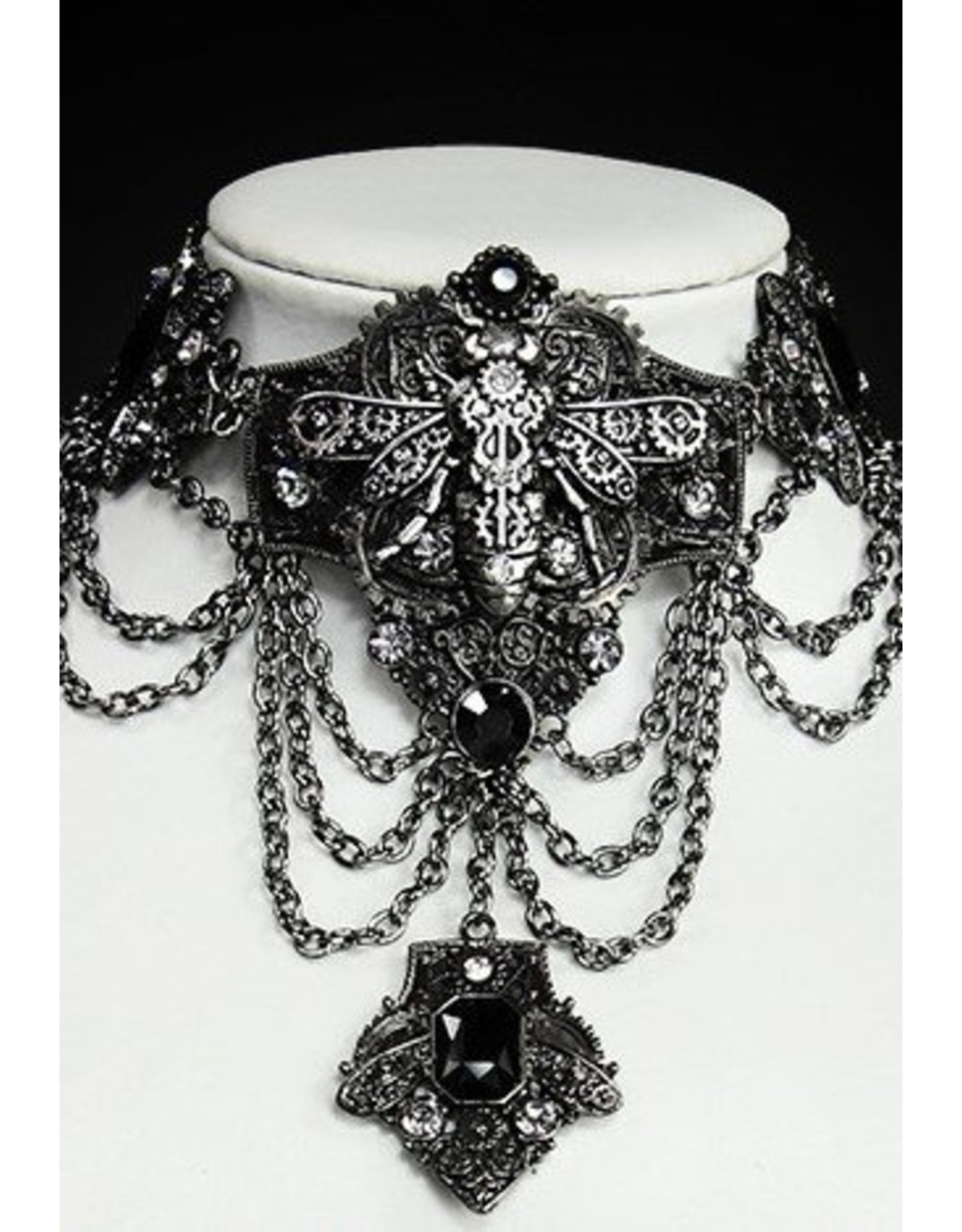 Restyle Steampunk accessoires - Mechanical Bee  Chroom Steampunk choker Restyle