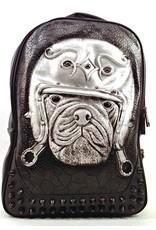 Dark Desire Gothic tassen Steampunk tassen - Gothic 3D Rugzak Bulldog zilver