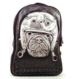 Uitverkocht - Dark Sold out - Dark Desire Gothic 3D Backpack Bulldog silver