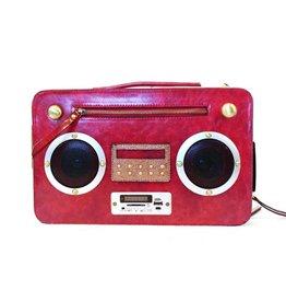 Magic Bags Retro tas met WERKENDE Radio rood