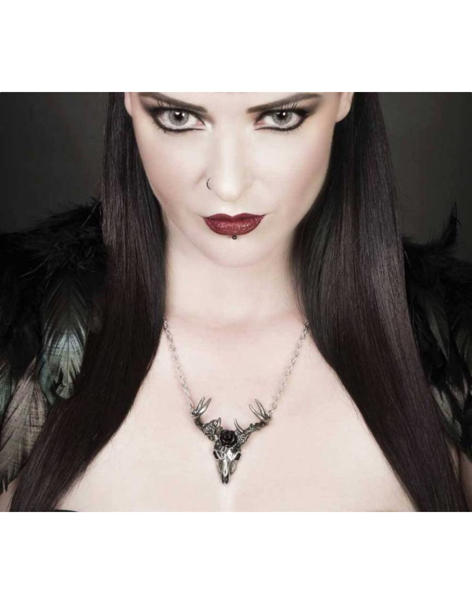 Alchemy Gothic accessories - White Hart, Black Rose pendant and necklace Alchemy