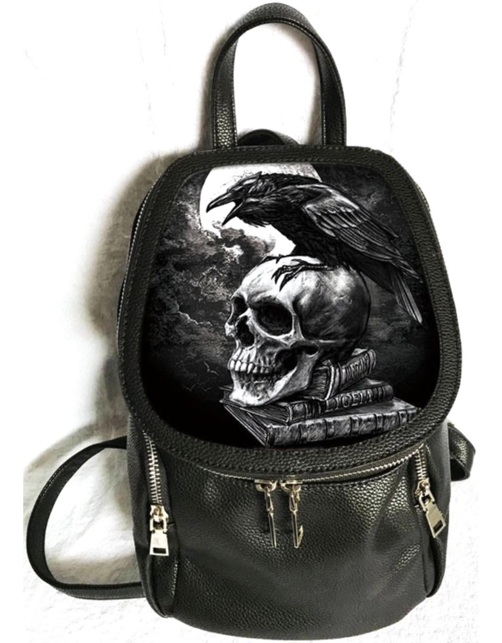 Alchemy Gothic tassen Steampunk tassen - Alchemy Poe's Raven 3D rugzak Raaf op de Schedel