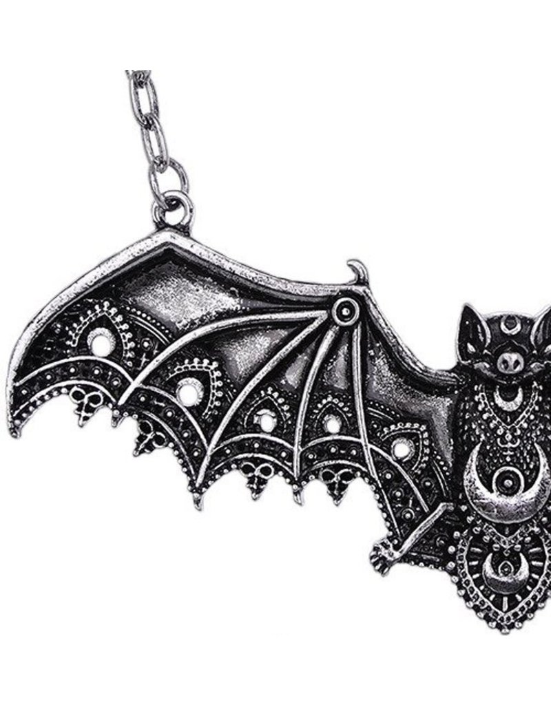 Gothic accessories - Gothic necklace with Lace Bat pendant