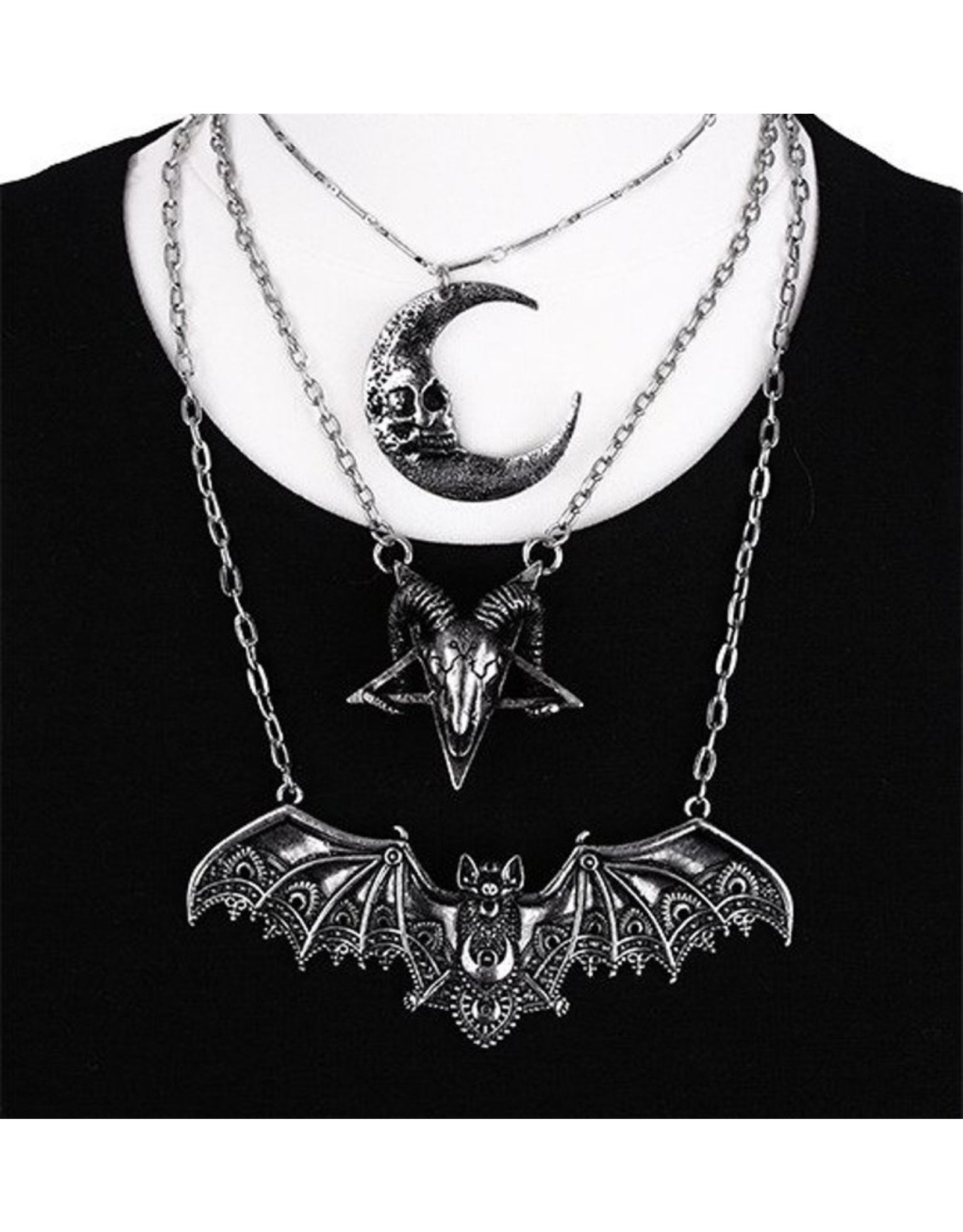 Restyle Gothic accessories - Gothic necklace with Lace Bat pendant